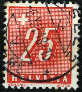 Switzerland Postage Due 1938 the 25 C. on ribbed paper , VF ++ used