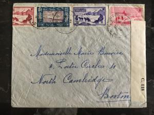 1940 St Pierre Miquelon Censored Cover to Boston USA # 141 172 173 175 178 179