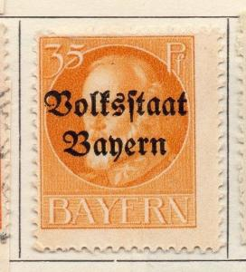 Bavaria 1919 Early Issue Fine Mint Hinged 35pf. Optd 109346