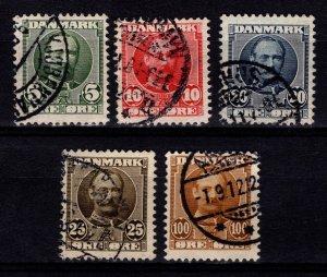 Denmark 1907-12 Frederik VIII Definitives Part Set [Used]