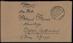 3rd Reich Danzig Stutthof 1943 Concentration Camp Feldpost Cover 63556