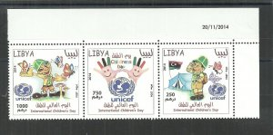 2014– Libya- Libye- Children day- Butterflies- Flag- Scout- UNICEF- Dated corner