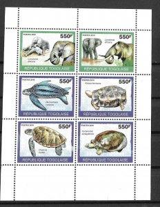 Togo MNH S/S Elephants & Turtles 2010 6 Stamps