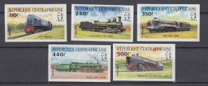 J28879, 1984 central africa set mnh imperf #633-7 trains railroad