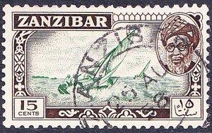 ZANZIBAR 1957 15 Cents Green & Sepia SG360 Fine Used