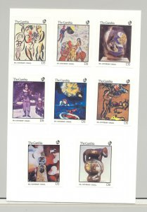 Gambia #657-664 Chagall Art 8v Imperf Proofs on Card, Unissued Denominations