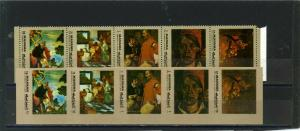 MANAMA 1972 Mi#958-D959A,B PAINTINGS 2 STRIPS OF 5 STAMPS PERF. & IMPERF. MNH