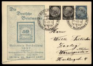 Germany 1937 Berlin Show Ganzsache 50 Billion Infla Postal Cover 90824