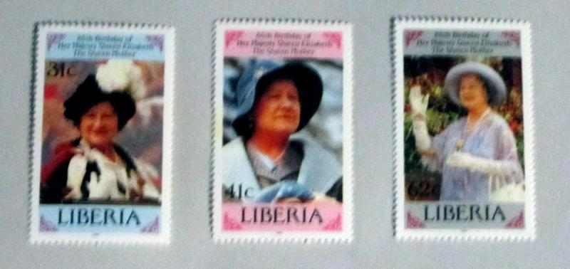 Liberia - 1037-39, MNH Set. Queen Mother Bday. SCV- $3.40
