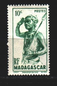 Madagascar. 1946. 387 from the series. Native with a spear. MNH.