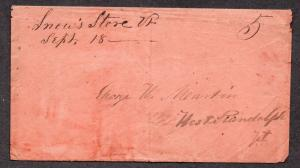 **US Stampless Cover, Snow's Store, VT M/S Cancel 9/18, DPO, Contents