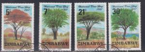 Zimbabwe # 442-445, National Tree Day, Used Set, 1/2 Cat.