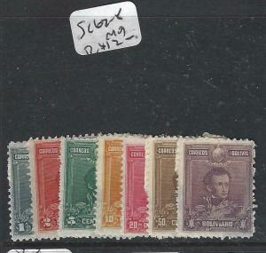 BOLIVIA  (P0706B)  SC 62-8    VERY FRESH FULL MOG ALAS SOME PAPER ON BACK