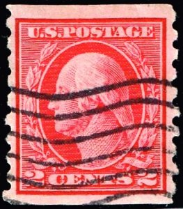 US STAMP #413 – 1912 2c Washington, carmine USED STAMP