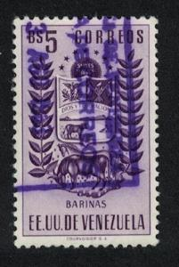 Venezuela Arms issue State of Barinas Cow and Horse 5Bs Violet KEY VALUE 1954