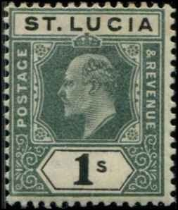 St Lucia SC# 48 Edward VII 1shilling MH SCV $17.00 with mount