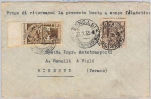 66105 - ITALIA COLONIE: LIBIA -  VARIETA  Sassone 41g su BUSTA  1933 - BELLO!