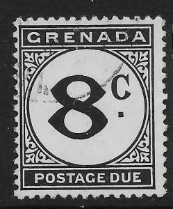 GRENADA SGD18 1952 8c BLACK POSTAGE DUE USED