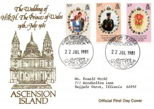 Ascension 294-296 Royal Wedding Typed FDC