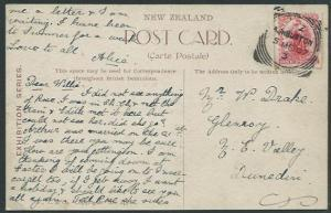 NEW ZEALAND 1907 NZ Exhibition postcard ASHBURTON squared circle pmk. ...37870