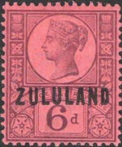 ZULULAND-1888-93 6d Purple/Rose-Red Sg 8 AVERAGE MOUNTED MINT V50108