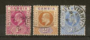Gambia 1902 1d, 2d 2.5d SG46-48 Fine Used Cat£21