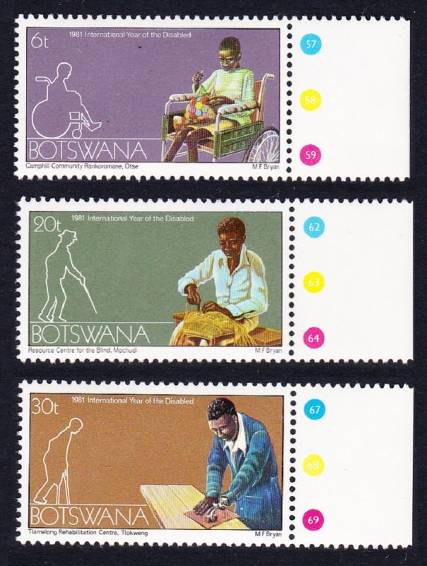 Botswana International Year for Disabled Persons 3v WITH MARGINS SG#486/88