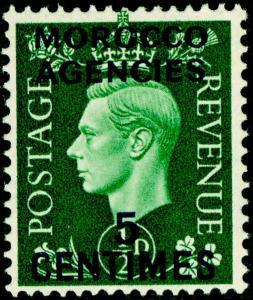 MOROCCO AGENCIES SG230, 5c on ½d green, M MINT.