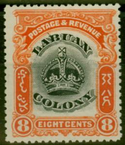 Labuan 1902 8c Black & Vermilion SG121b Line Through B Fine & Fresh Mtd Mint