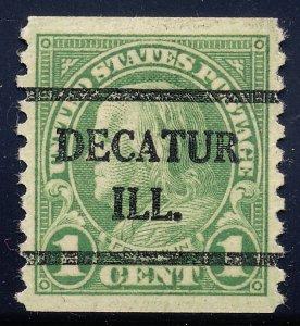 Decatur IL, 597-42 Bureau Precancel, 1¢ coil Franklin