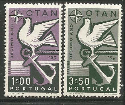 PORTUGAL 846-847, MNH, PAIR OF STAMPS, SYMBOLS OF HOPE AND PEACE