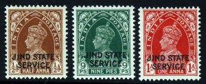 JIND STATE INDIA KG VI 1937-40 OFFICIAL Opt JIND STATE SERVICE SG O66 - O68 MINT