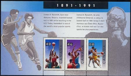 Canada USC #1344 Mnt VF-NH 1991 Basketball Souvenir Sheet Cat. $7.