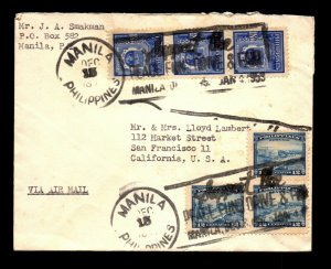 Philippines 1953 Airmail Cover to USA - L22590
