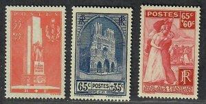 $France Sc#B73-B75 M/NH/XF, complete set, Cv. $48.50