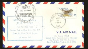 Canada 497 on 1969 Toronto-New York City 50th Anniversary First Flight Cover