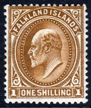 Falkland Islands KEVII 1904 1/- 1s Brown SG48 Mint Lightly Hinged