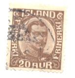 Iceland Sc 119 1922 20 a chocolate Christian X stamp used