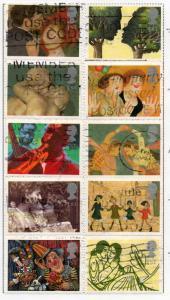 Great Britain Sc 1596-1604 1995 Greetings in Art stamp set used