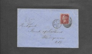 GREAT BRITAIN 1d RED ON 1871 COVER-COLCHESTER