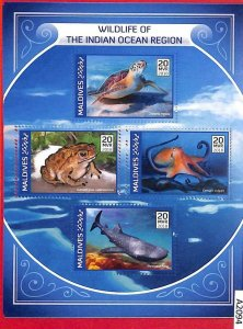 A2094 - MALDIVES, ERROR: MISPERF, M/S - 2018, Octopus, Turtles, Toads, Sharks