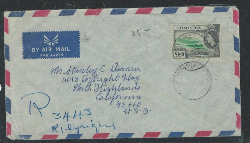 DOMINICA  (P0312B) QEII 1993  $1.20 MANUSCRIPT REG   TO USA