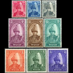 NEPAL 1962 - Scott# 144-51A King miss 5p Set of 9 LH
