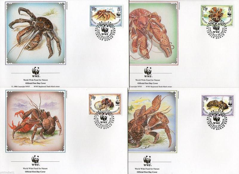 British Indian Ocean Territory 1993 Coconut Crab Sc 132-35 Fauna WWF FDCs #95