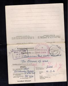 1942 Germany Stalag 2D French Prisoner of War POW Dual Reply PC Cover to USA