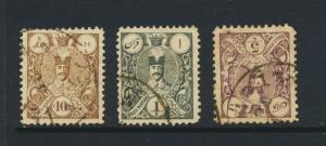 PERSIA 1885-6, 10p-5k VF USED Sc#63-5 CAT$45 (SEE BELOW)