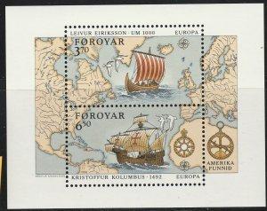 Faroe Islands, #238  Unused SS From 1992