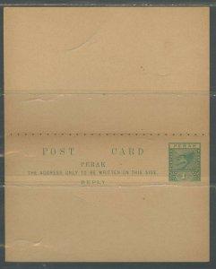 MALAYA PERAK 1C GREEN TIGER NO ARMS MINT POSTAL STATIONERY DOUBLE CARD AS SHOWN