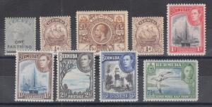 Bermuda Sc 26/121D MNH. 1883-1941 issues, 9 different singles, fresh & F-VF