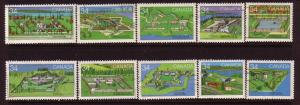 CANADIAN SET ON 1984 FORTS STAMPS USED LOT#94